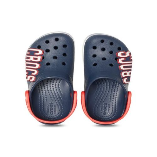 Crocs Kids Crocband Logo Navy Back Strap Clogs
