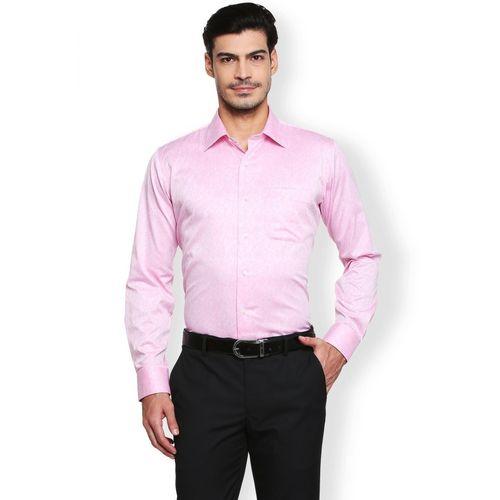 Van Heusen Men Printed Formal Pink Shirt