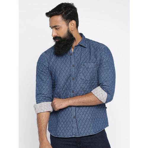 Parx Men Blue Slim Fit Solid Quilted Casual Shirt