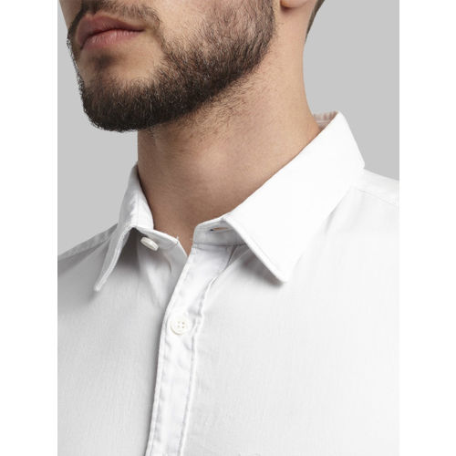 Parx Men White Slim Fit Solid Casual Shirt