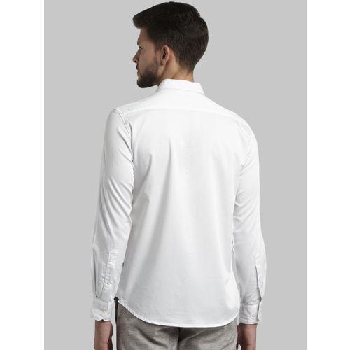 Parx Men White Slim Fit Solid Casual Shirt