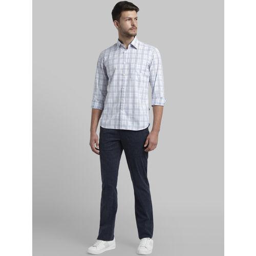 Parx Men White & Blue Slim Fit Checked Casual Shirt