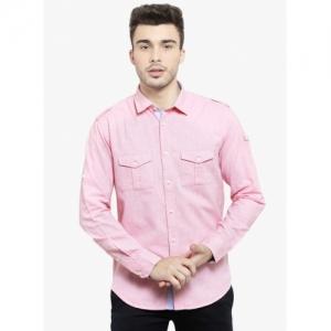 Monteil & Munero Pink Cotton Self Design Slim Fit Casual Shirt