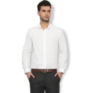 Van Heusen Men Self Design Formal White Shirt