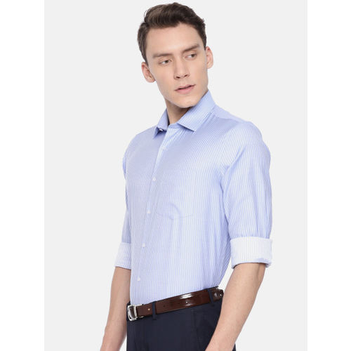 Van Heusen Men Blue & White Slim Fit Striped Formal Shirt