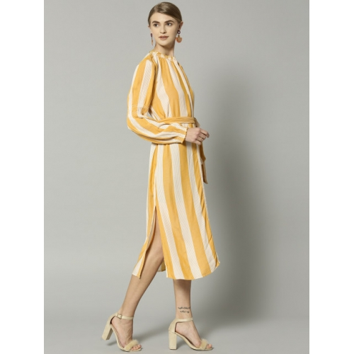 Marks & Spencer Yellow Striped Shirt Dress