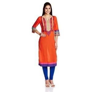 Rangriti Women's Orange Embroidered Straight Kurta