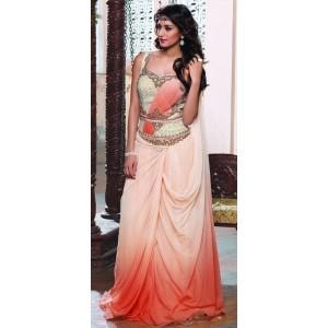 Orange and Beige Stone Work Saree Style Gown