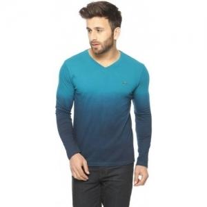 Gritstones Turquoise Ombre Full Sleeve V-Neck T-Shirt