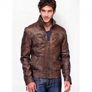 Teakwood Coffee Solid 100% Leather Jacket