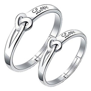 19 Likes Adjustable Lover Heart Metal Ring For Couple