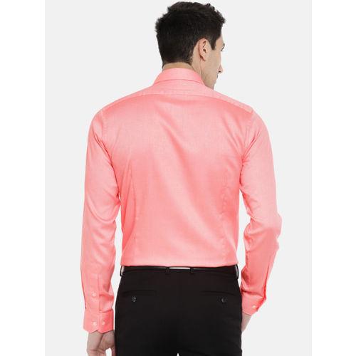 Van Heusen Men Pink Slim Fit Solid Formal Shirt