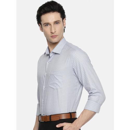 Van Heusen Men Grey Slim Fit Checked Formal Shirt