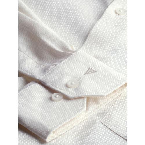 Van Heusen Men Cream-Coloured Slim Fit Self-Design Formal Shirt