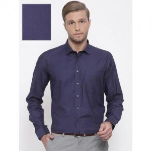 68fba766 Van Heusen Men Navy Blue Comfort Regular Fit Self Design Formal Shirt