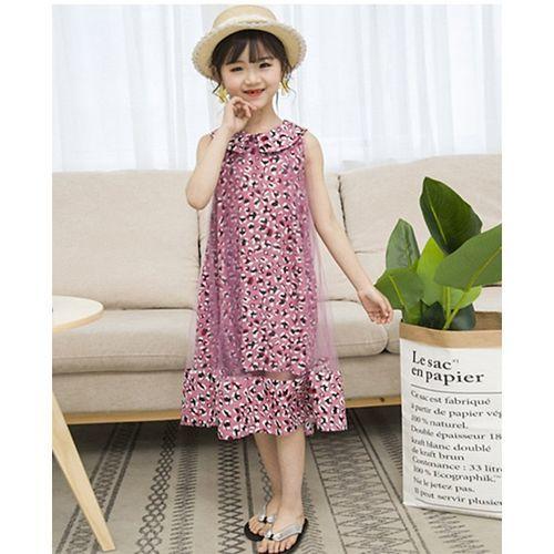 Pre Order - Awabox Sleeveless Leopard Print Straight Cut Dress - Dark Pink