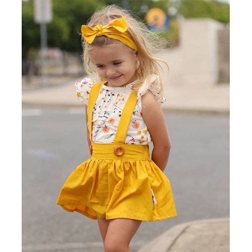 Pre Order - Awabox Flower Print Short Sleeves Top With Pinafore Dress Set - Yellow
