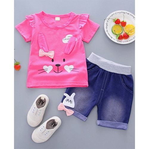Pre Order - Awabox Rabbit Print Half Sleeves Tee & Denim Shorts Set - Dark Pink