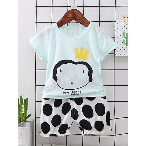 Pre Order - Awabox Half Sleeves Cartoon Print Tee & Polka Dot Print Shorts Set - Light Green