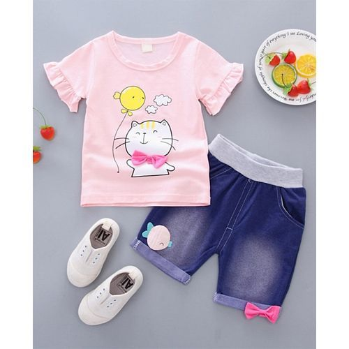 Pre Order - Awabox Cat Print Half Sleeves Tee & Denim Shorts Set - Pink