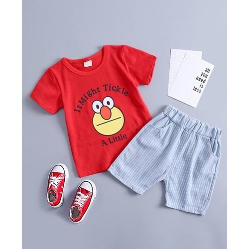 Pre Order - Awabox Half Sleeves I Might Tickle A Little Print Tee & Shorts Set - Red