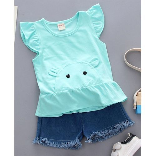 Pre Order - Awabox Cap Sleeves Bunny Design Top With Raw Hem Shorts - Blue
