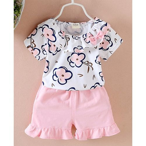 Pre Order - Awabox Half Sleeves Flower Print Top With Shorts - Pink