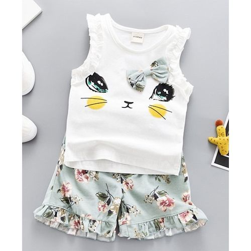 Pre Order - Awabox Sleeveless Cat Print Top & Floral Print Shorts Set - White & Green