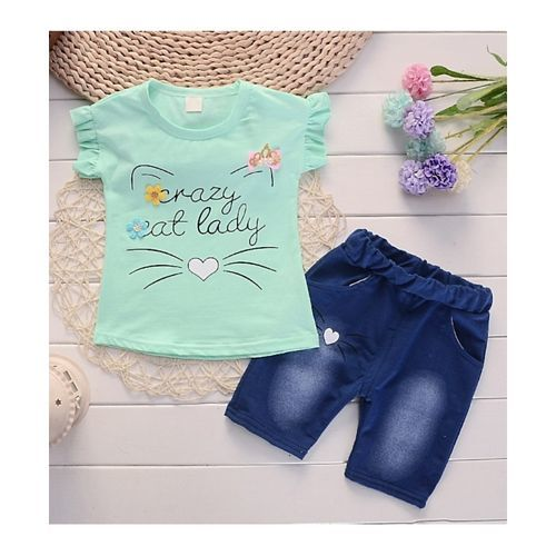 Pre Order - Awabox Whiskers Printed Half Sleeves Tee & Shorts Set - Green