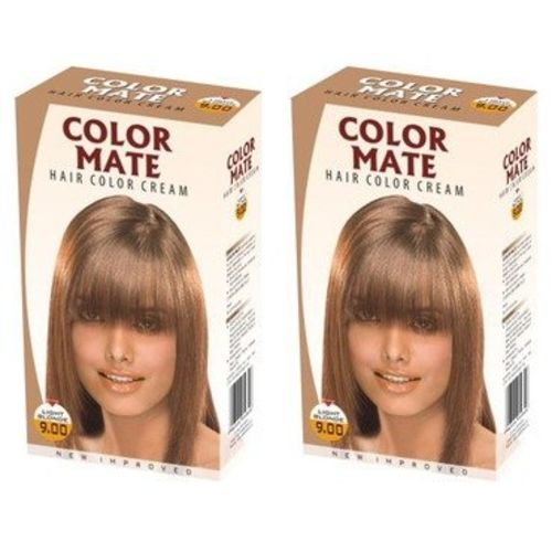 COLOR MATE Hair Color Cream - Light Blonde, 130ml (Pack of 2)