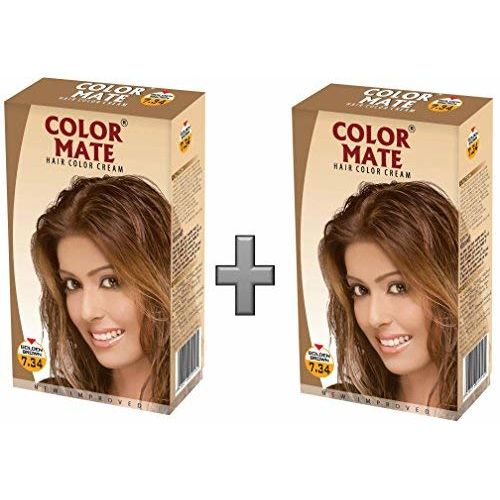 Color Mate Hair Color Cream, Golden Brown, 130ml (Pack of 2)