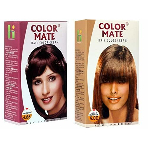 Color Mate Hair Color Cream Mahogany + Light Blonde
