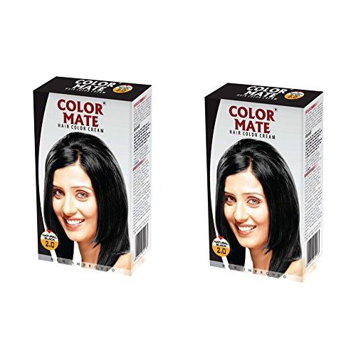 COLOR MATE Colormate Hair Color Cream PACK OF 2 with Ayur Product in Combo