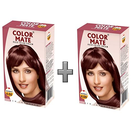 Color Mate Hair Color Cream - Mahogany 130 ML (Pack of 2)
