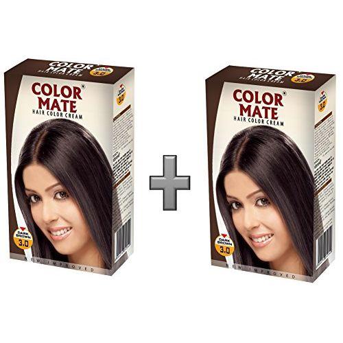 Color Mate Hair Color Cream - Dark Brown 130 ML (Pack of 2)