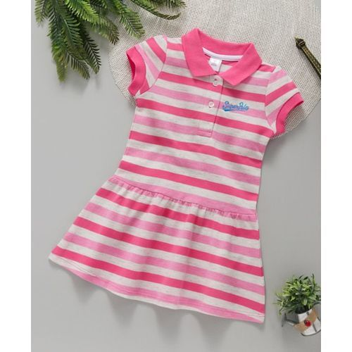 ToffyHouse Short Sleeves Collar Neck Tennis Frock Stripes Print - Pink