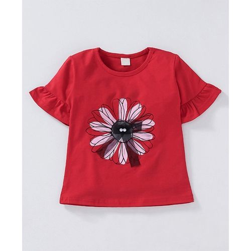 Kookie Kids Half Sleeves Top And Pleated Denim Skirt - Red