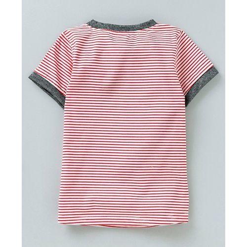 Kookie Kids Half Sleeves Striped Top & Net Overlay Skirt - Pink