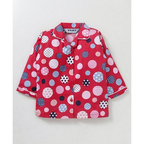 Enfance Core Circle Print Full Sleeves Night Suit - Pink