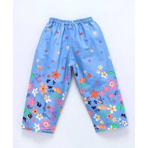 Enfance Core Full Sleeves Floral Print Night Suit - Blue
