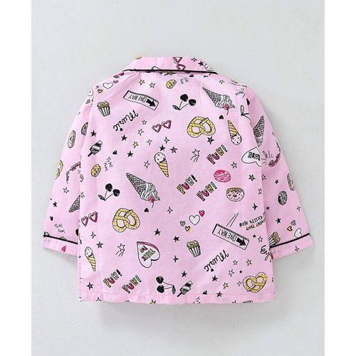 Enfance Core Ice Cream Print Full Sleeves Night Suit - Pink