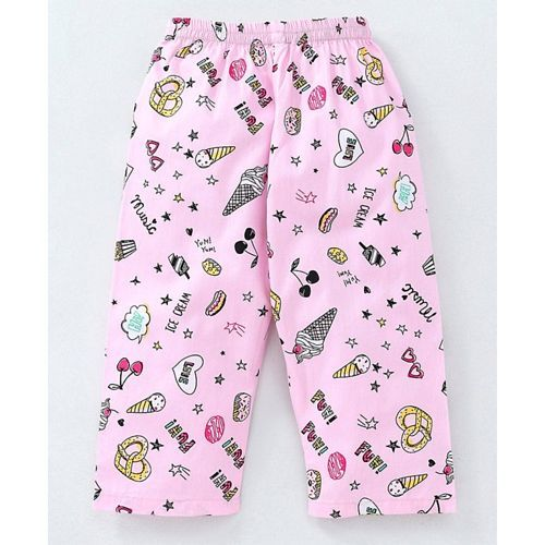 Enfance Core Ice Cream Print Full Sleeves Night Suit - Pink