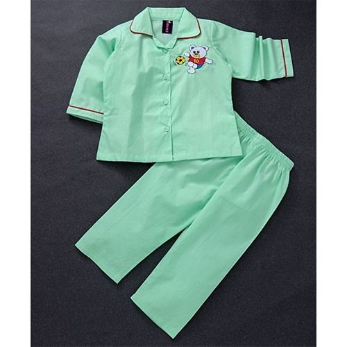 Enfance Core Teddy Patch Full Sleeves Night Suit Set - Green