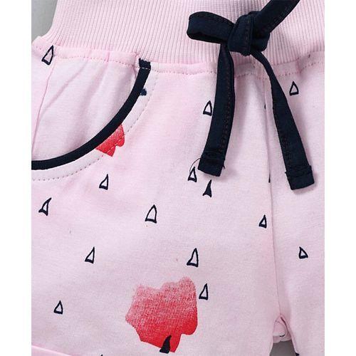 Olio Kids Printed Shorts With Drawstring - Pink