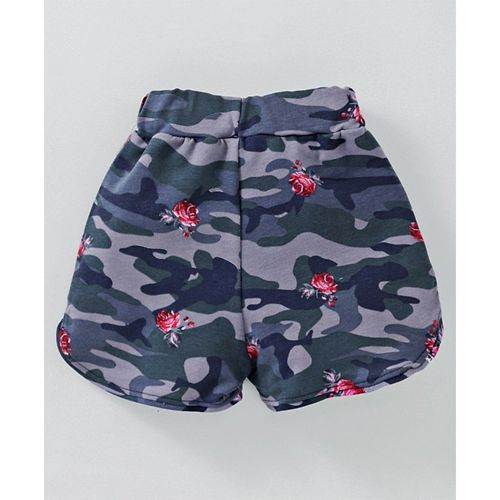 Fido Shorts With Drawstring Rose Print - Grey