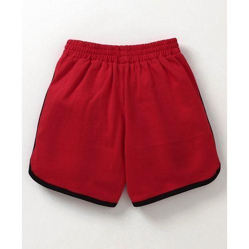 Teddy Shorts With Drawstring Winner Print - Red