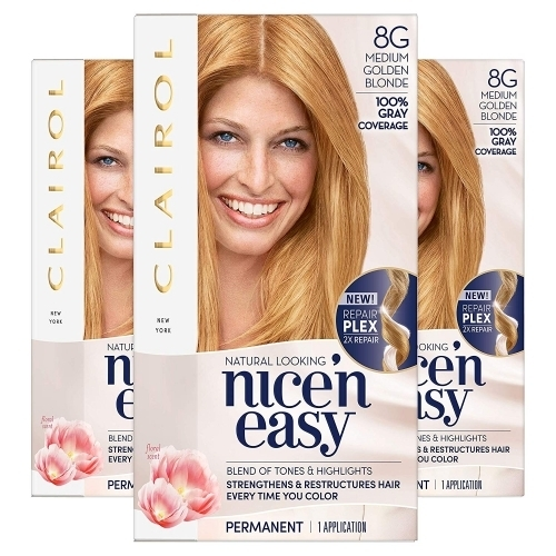Clairol Nice 'N Easy Hair Color 104 Natural Medium Golden Blonde 1 Kit (Pack of 3)