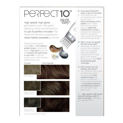 Clairol Perfect 10 By Nice 'N Easy Hair Color 005g Medium Golden Brown 1 Kit 1.000-Kit