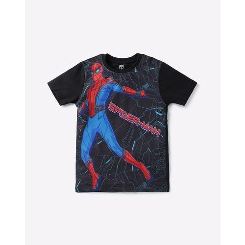 DISNEY Spider-Man Print Mesh Crew-Neck T-shirt