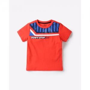 AJIO Crew-Neck T-shirt with Contrast Yoke